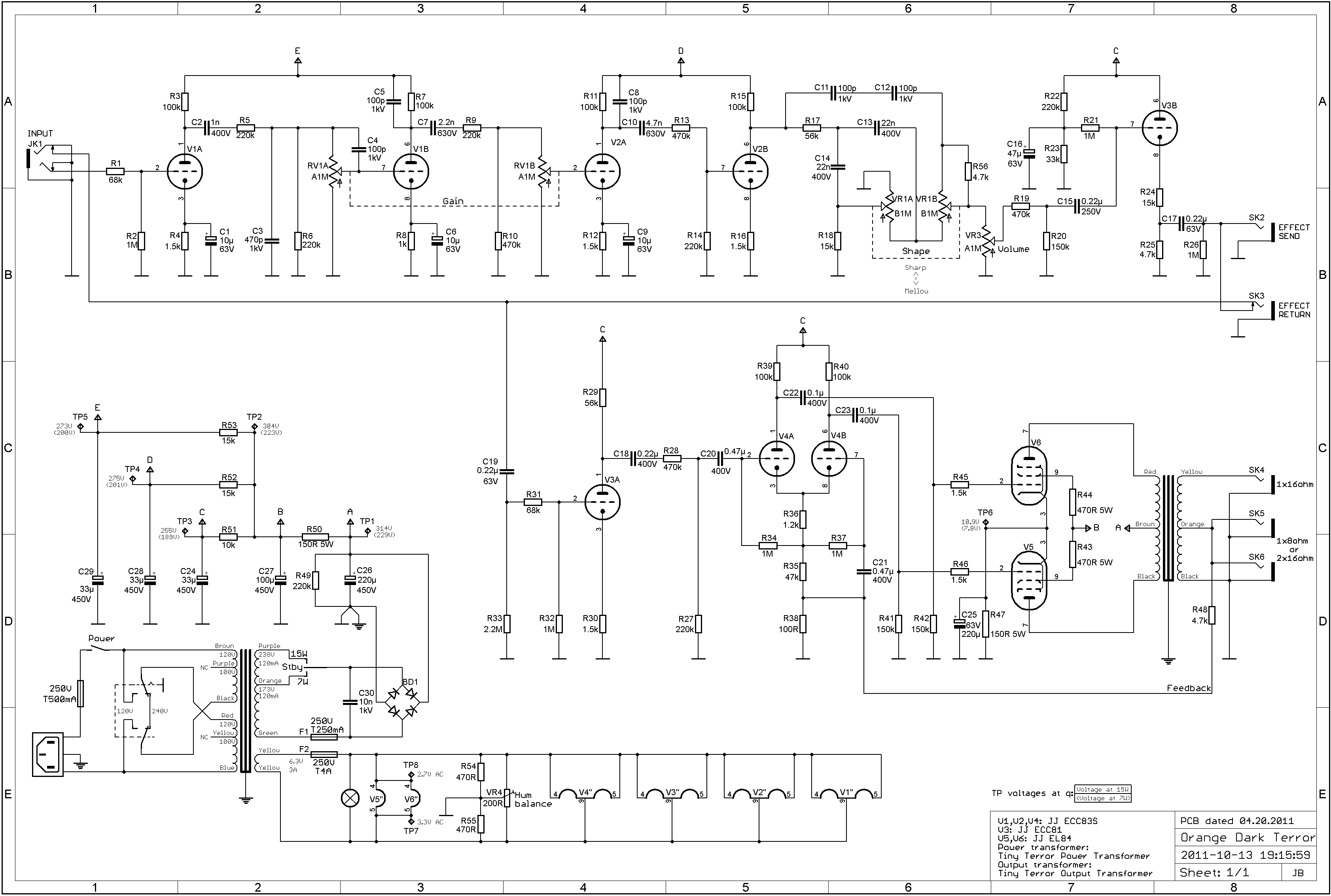 Circuit Diagram For 4 Jim Root Orange Amps Forum Loop Wiring Re