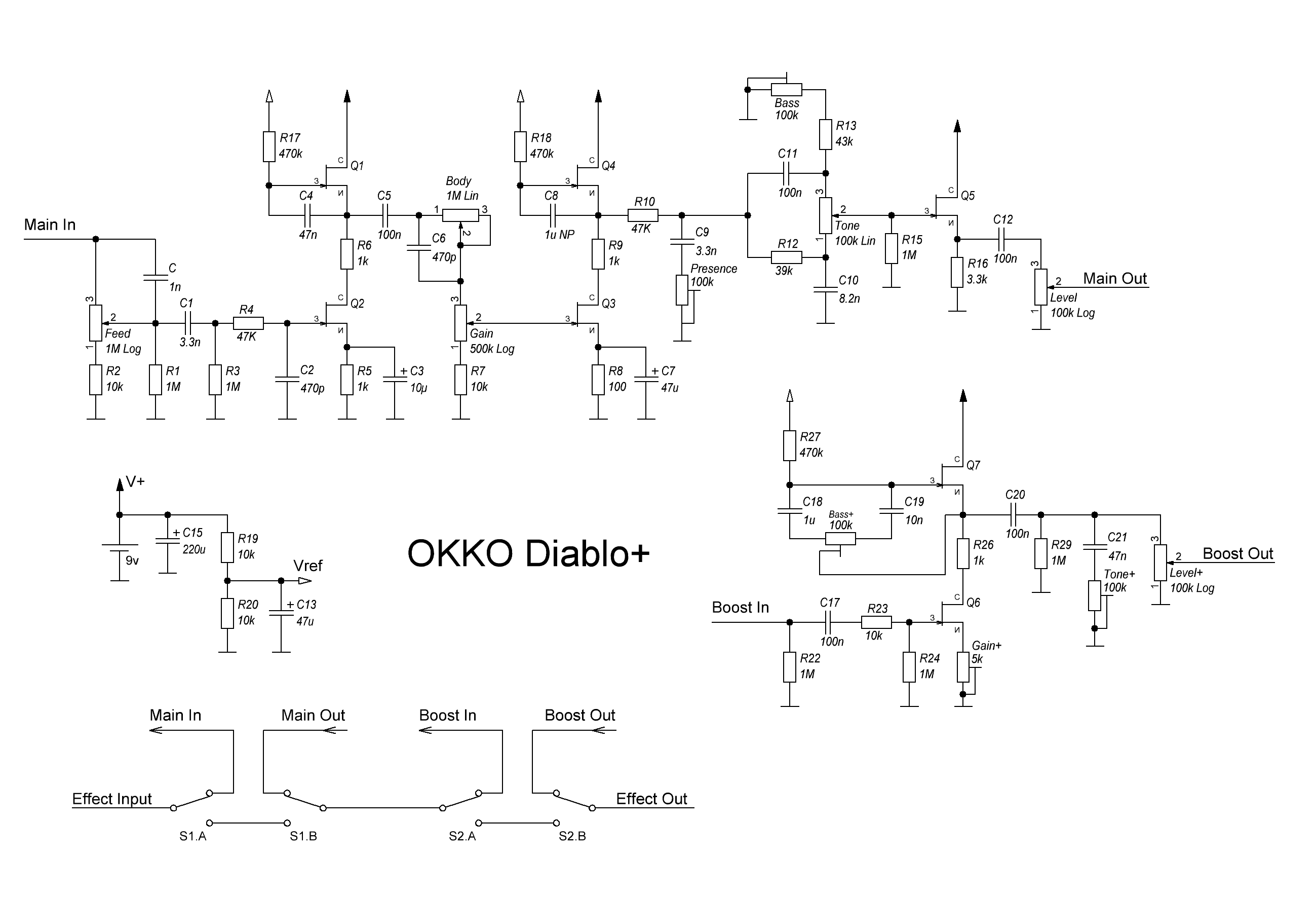 Okko Diablo Overdrive Pedal Detailed Specification And Review Distortion Schematics Yes Schematic Available